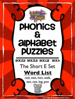 Alphabet & Phonics Puzzles - Short E Set