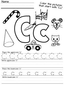 Kindergarten Beginning Sound & Letter Handwriting Worksheets