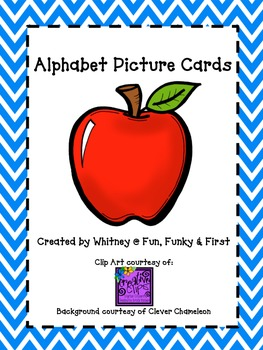 Alphabet Picture Cards - Blue Chevron