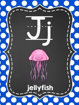 Alphabet Picture Cards {Blue Polka Dot}