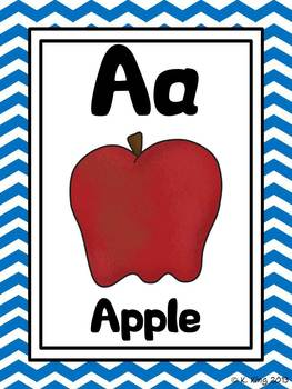 Alphabet Picture Cards - Bright Chevron Background