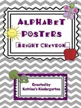 Alphabet Picture Cards - Bright Chevron Background
