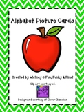 Alphabet Picture Cards - Lime Green Chevron