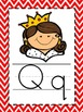 Alphabet Picture Cards - Red Chevron