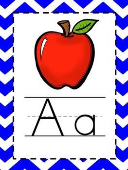 Alphabet Picture Cards - Royal Blue Chevron
