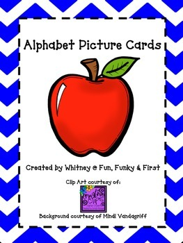 Alphabet Picture Cards - Royal Blue Chevron