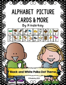 Alphabet Picture Cards and More - Black and White Polka Dotted THEME