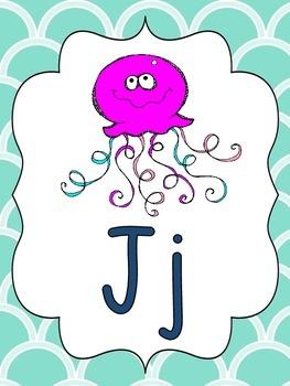 Alphabet Picture Cards (pink, aqua, & navy)