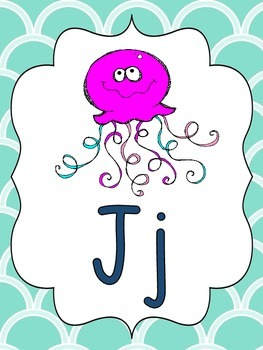 Alphabet Picture Cards (pink, aqua, & navy)