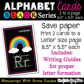 Alphabet Picture Cards with Arrow Guides Line Word Wall Ca