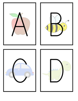 Alphabet Picture Flashcards (Uppercase and Lowercase)