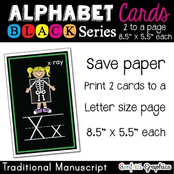 """Alphabet Picture Line Word Wall Cards Traditional Manuscript Black 5.5""""x8.5"""""""