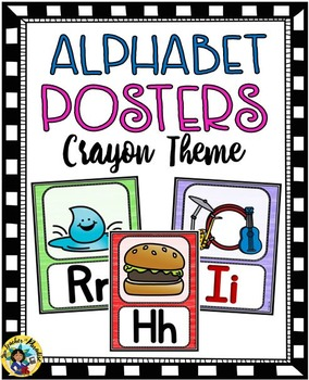 Alphabet Picture Posters Crayon Theme