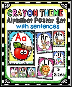 Alphabet Picture Posters Pack with Sentences (Crayon Theme)