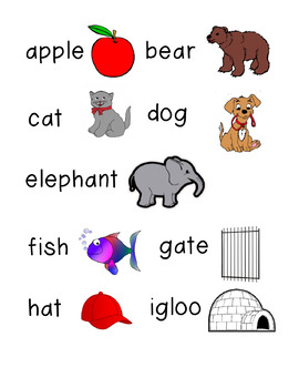 Alphabet Picture Word Cards