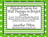 Alphabet Picture and Letter Cards for Wall Displays in Brights
