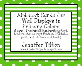 Alphabet Picture and Letter Cards for Wall Displays in Primary Colors