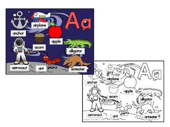 Alphabet Pictures Posters and Coloring Sheets Aa Thru Zz Bundle