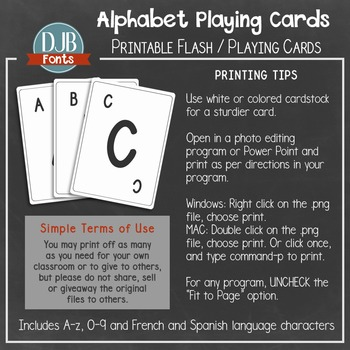 image regarding Printable Playing Card Stock identify Alphabet Enjoying Card / Flash Card Printables