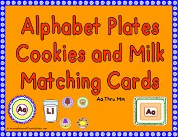 Alphabet Plates Cookies and Milk Matching Game Aa Thru Zz
