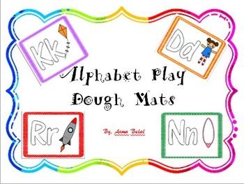 Alphabet Play Dough Mat plus QKGL learning through play dough Poster