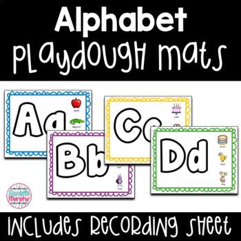 Alphabet Play Dough Mats-- Optional Recording Sheet Included