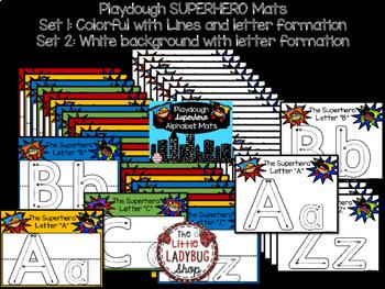 Alphabet Play Dough Mats & Letter Tracing Practice Posters- Superhero Theme