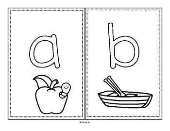 Alphabet Play Dough Mats - Upper and Lower Case plus Picture b/w