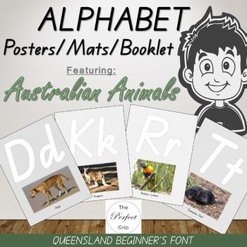 Alphabet Posters / Mats / Booklet / Cards with Australian Animal Pics, QLD font