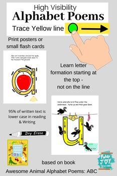 Alphabet Poems Trace & Learn Letter Formation Cards: Awesome Animals ABC