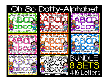 Alphabet Polka Dot Clip Art Letters BUNDLE