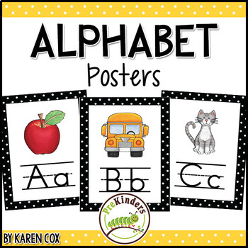 Alphabet Posters   Bold Black Polka Dots