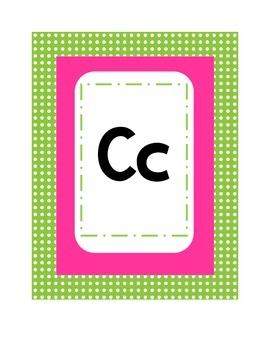 Alphabet Polka Dot Theme Pink and Lime Green Manuscript Primary