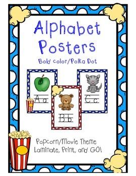 Alphabet Posters - Popcorn/Movie Theme