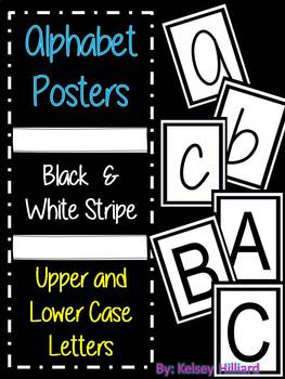 Alphabet Posters (Black and White Stripe)  Upper and Lower Case