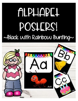 Alphabet Posters- Black with Rainbow Bunting