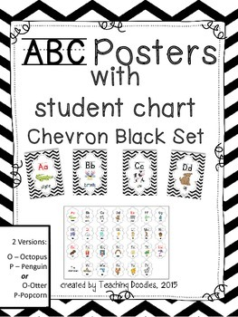 Alphabet Poster ~ Chevron Black Theme