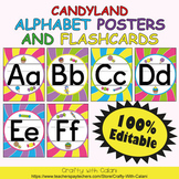 Alphabet Poster & Flashcards in Candy Land Theme - 100% Editable