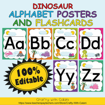Alphabet Poster & Flashcards in Cute Dinosaurs Theme - 100% Editable