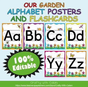 Alphabet Poster & Flashcards in Flower & Bugs Theme - 100% Editable