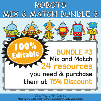Alphabet Poster & Flashcards in Robot Theme - 100% Editable