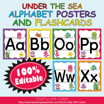 Alphabet Poster & Flashcards in Under The Sea Theme - 100% Editable