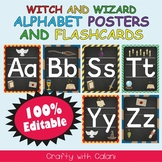 Alphabet Poster & Flashcards in Witch & Wizard Theme - 100% Editable