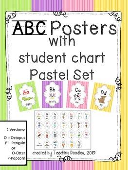 Alphabet Poster ~ Pastel Stripes Theme