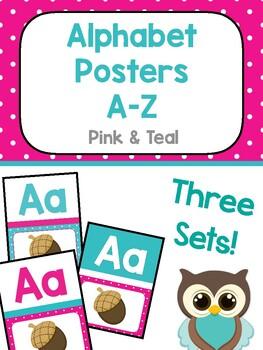 Alphabet Poster - Pink & Teal