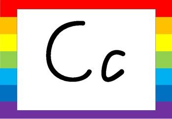 Alphabet Poster Rainbow Victorian Modern Cursive