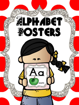 Alphabet Poster - Red Theme (Polka Dots, Chevron, stars, etc)