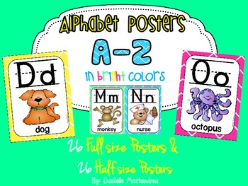 Alphabet Poster Set: A-Z (Full & Half Size Posters) {Bright Colors Theme}