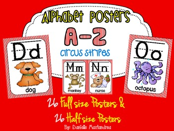 Alphabet Poster Set: A-Z (Full & Half Size Posters) {Circus/Movie Stripes}