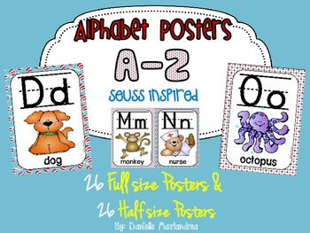 Alphabet Poster Set: A-Z (Full & Half Size Posters) {Seuss Inspired}